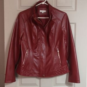 NEW deep red Jacket faux-leather